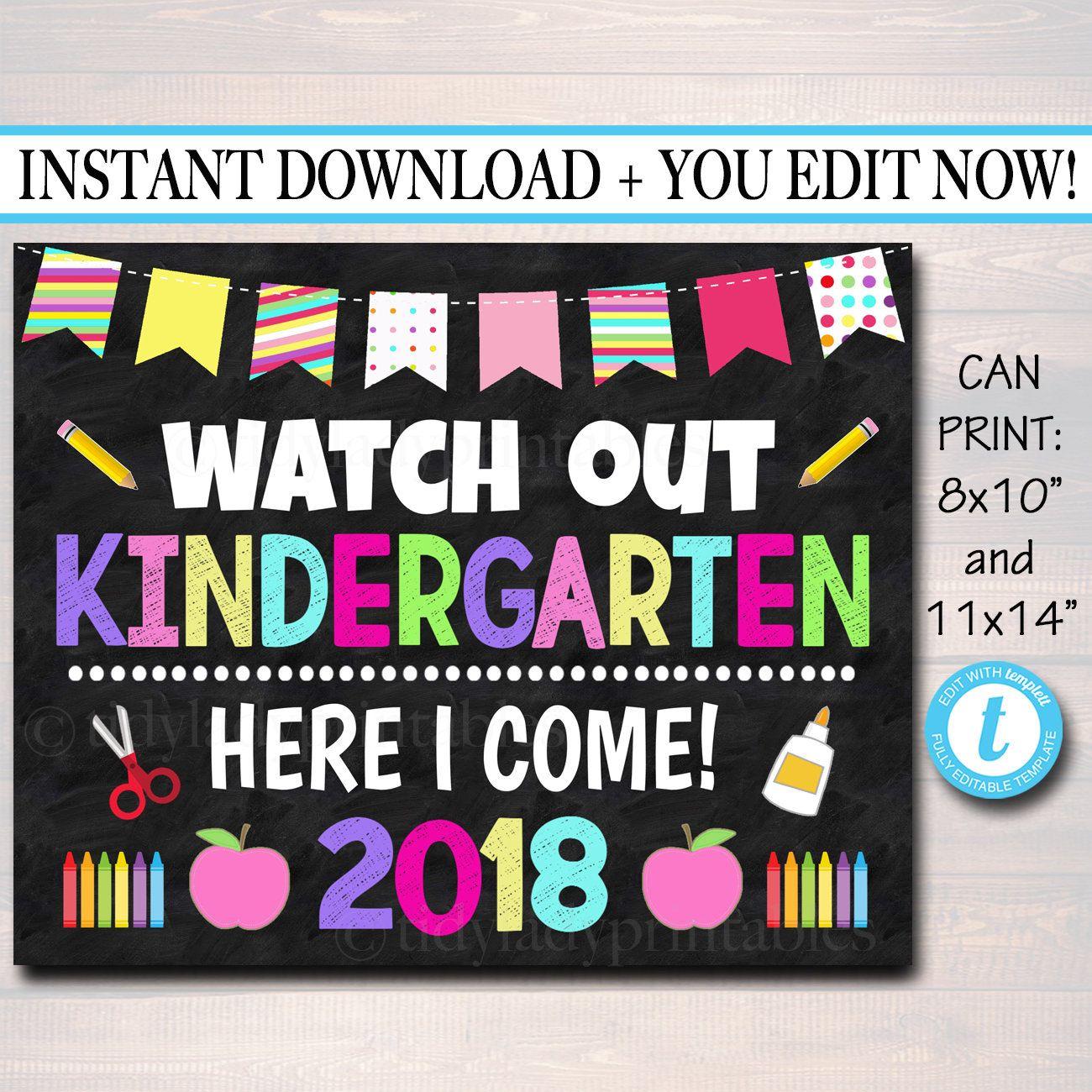 EDITABLE First Day of School Photo Prop Kindergarten