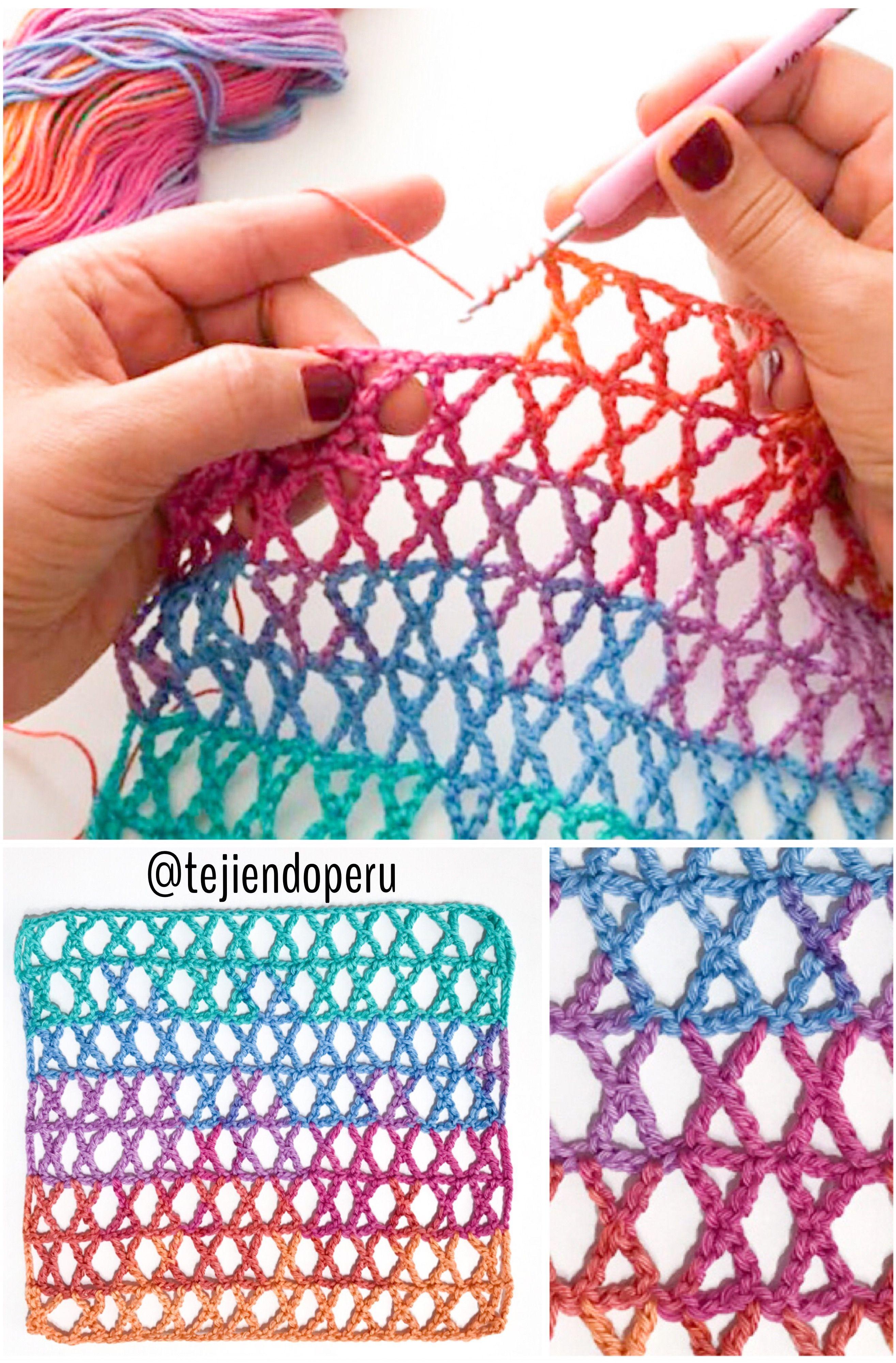 Punto K tejido a #crochet Crochet K stitch | crochet pattern ...
