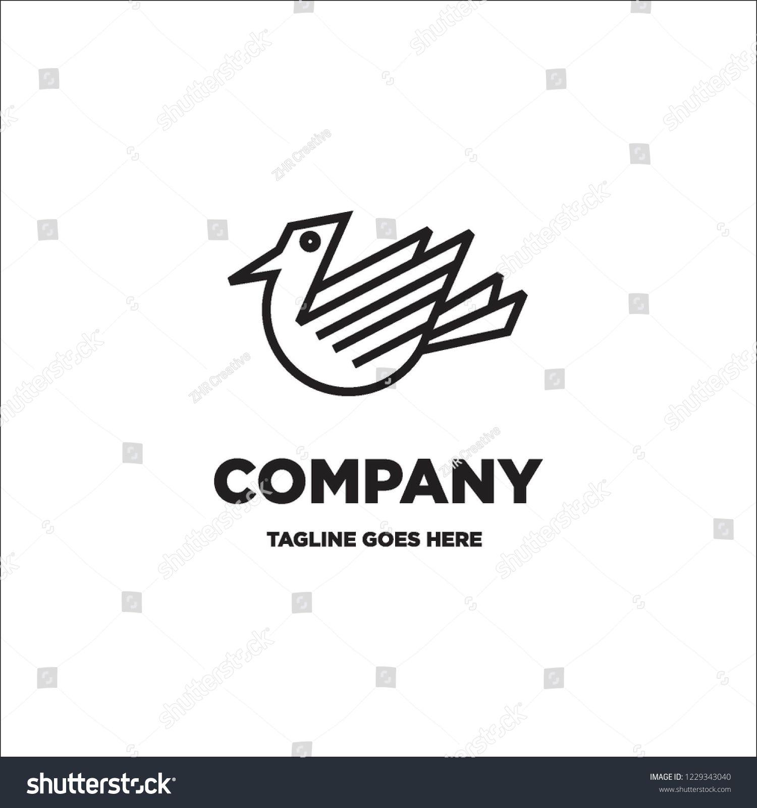 Monoline Flying Bird Logo Icon Vector
