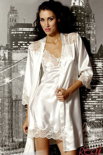 Chemise style nightie with lace trim and matching robe in ...