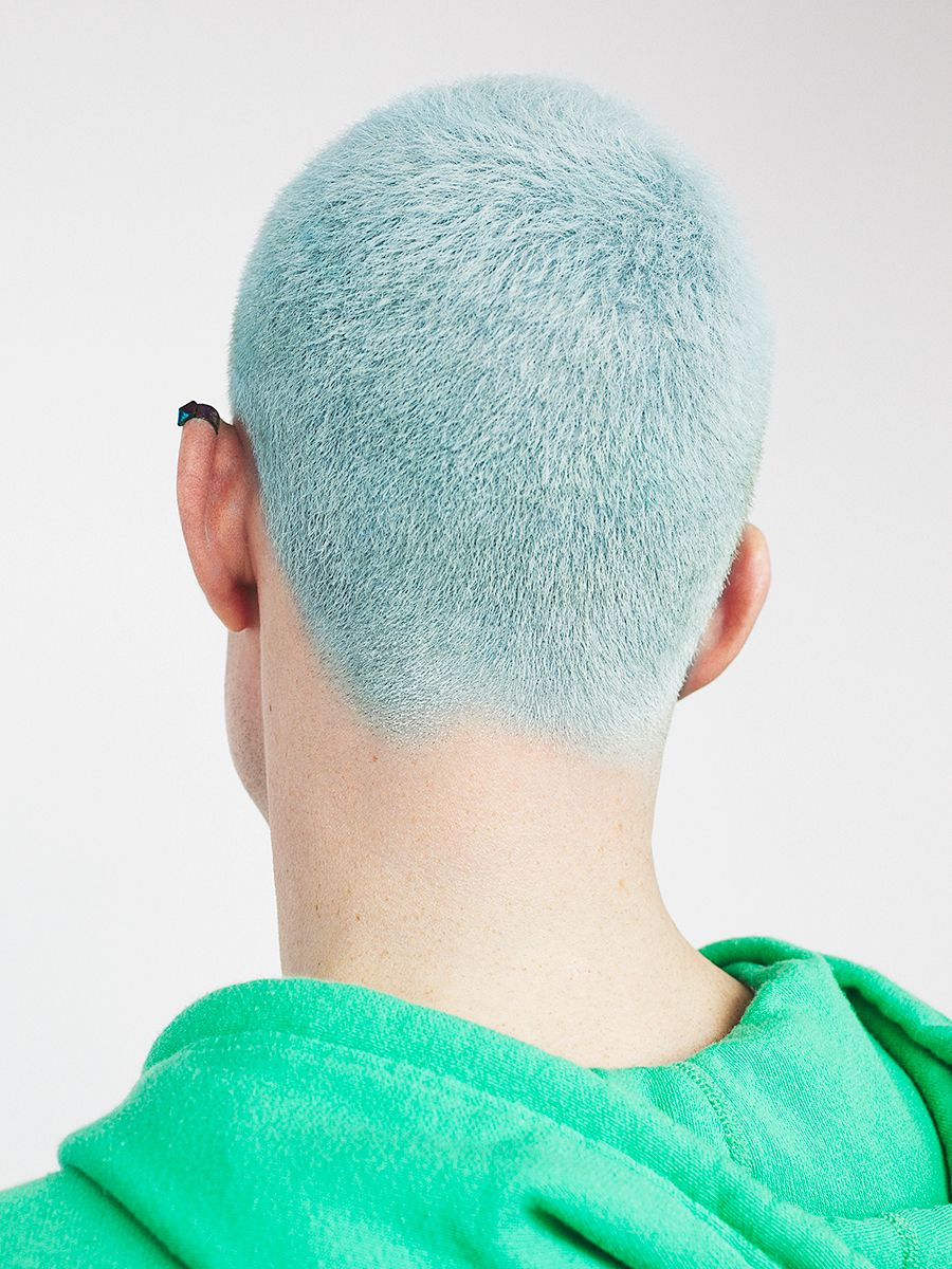 Blue Hair On A Guy With Images Men Hair Color Baby Blue Hair