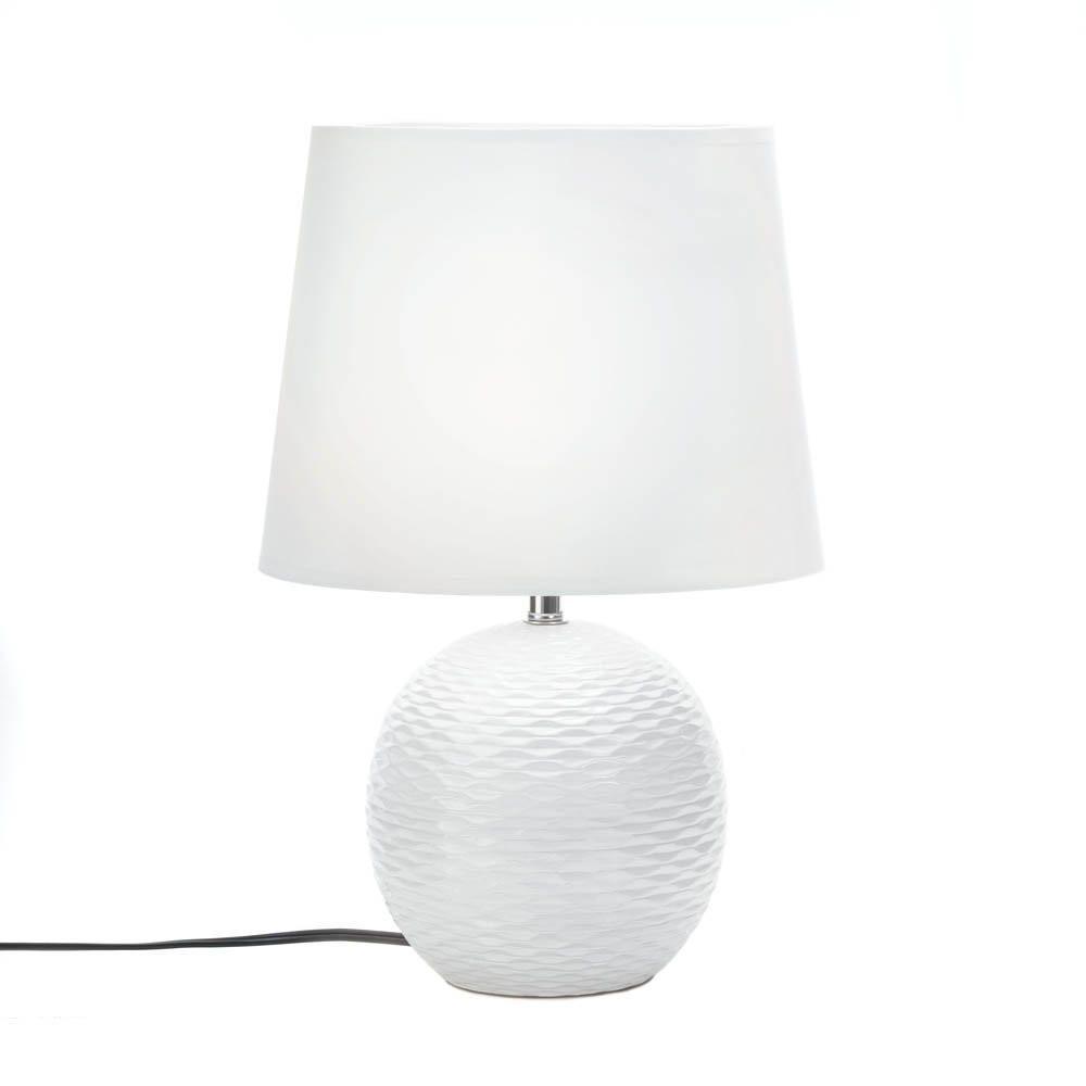 White Ceramic Fairfax Round Table Lamp Round Table Lamp White