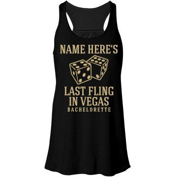 Last Fling Before Ring in Vegas | Having your last fling before the ring in Las Vegas, Nevada? Make sure all the bridesmaids and the bride to be in the bachelorette group are wearing their custom vegas bachelorette tank tops with metallic design!
