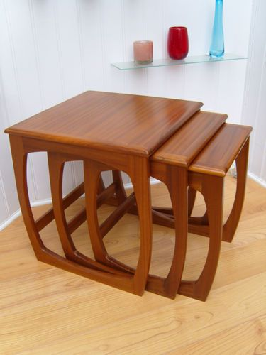 Nathan Nest Of 3 Tables 60 S 70 S Retro Teak Wood Vintage G Plan Danish Style Ebay Teak Table Mid 20th Century Furniture Teak Wood