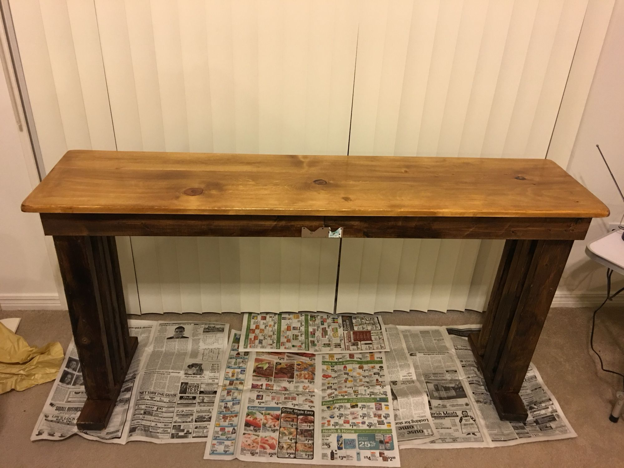 Couch table made from wood I picked up off the freeway at night