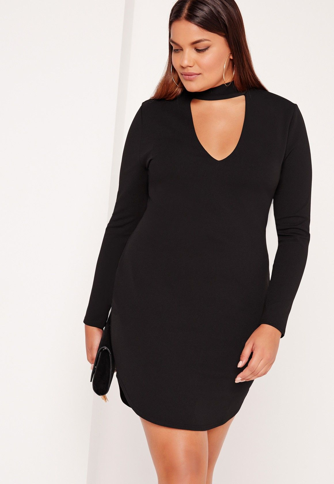 Missguided plus size choker neck curve hem mini dress black
