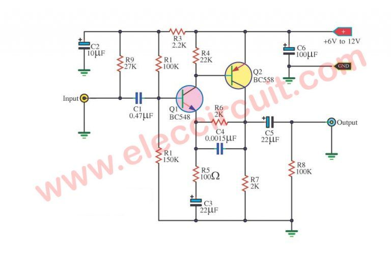 simple preamplifier circuit using bc548 transistors scircuits