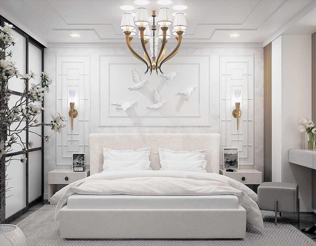 Gorgeous Luxury White Bedroom Decor With White Upholstered Bed Luxury White Bedroom Cozy Bed White Bedroom Decor Transitional Bedroom Design Bedroom Interior