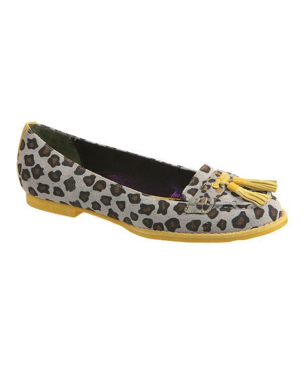 This Gray & Yellow Leopard Bee Tasseled Loafer by Poetic Licence is perfect! #zulilyfinds