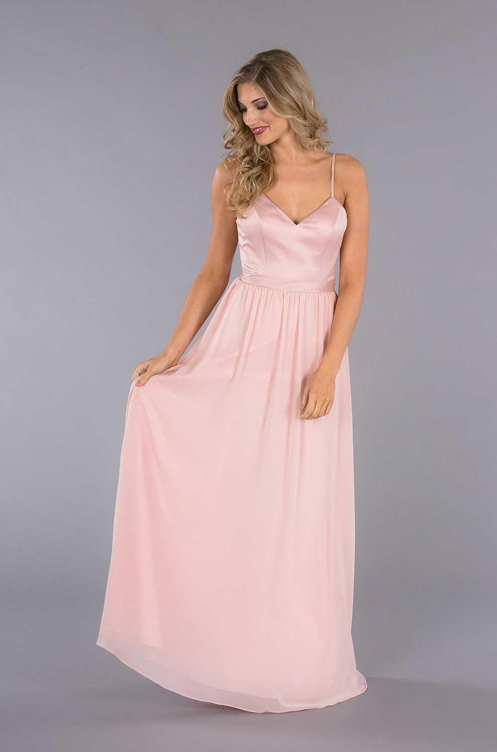 Abigail chiffon bridesmaid dresses dream wedding and wedding a satin top spaghetti strap bridesmaid dress with an elegant chiffon skirt ombrellifo Images