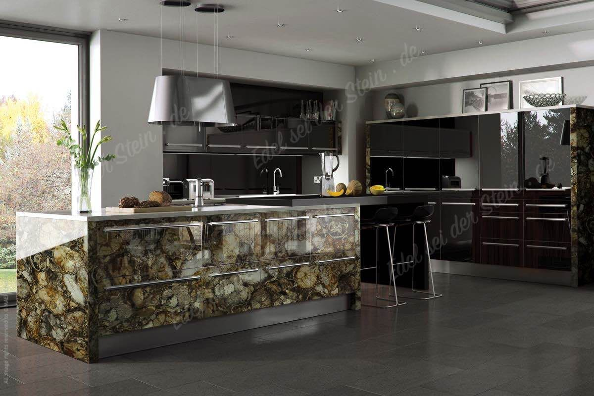 versteinertes holz zazen luxus kueche kuecheninsel freistehende k che design mit edelsteine. Black Bedroom Furniture Sets. Home Design Ideas