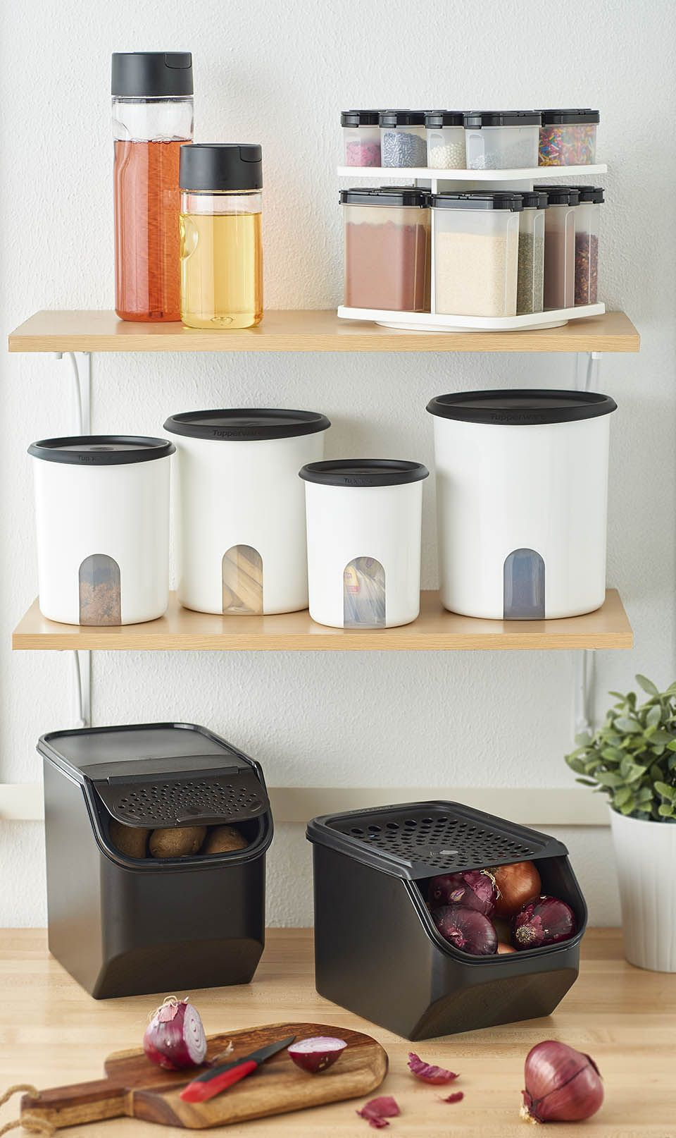 Save Waste Space And Money Do Your Shelf A Favor And Ask Your Consultant About Free In Home Custom Kitch Tupperware Organizing Tupperware Storage Tupperware
