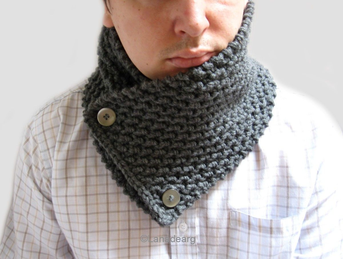 Knitting Pattern For Thick Scarf : hand knitted scarves for men Hand Knit thick Scarf neckwarmer cowl chunky f...