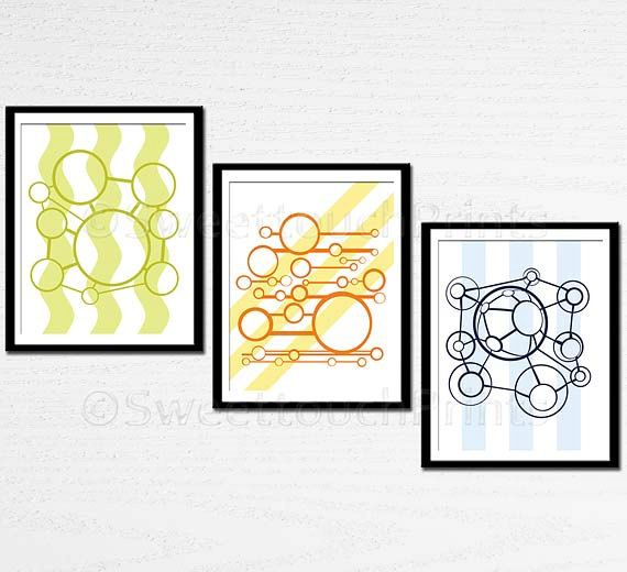 Modern art print set - science nursery art / home decor, study wall ...