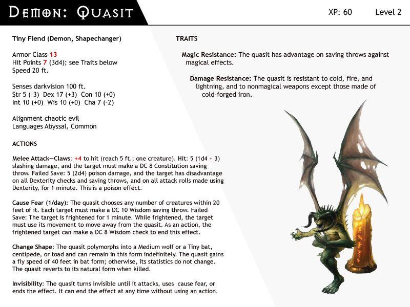 Dnd Next Monster Cards Demon Quasit Monster Cards Demon Dnd