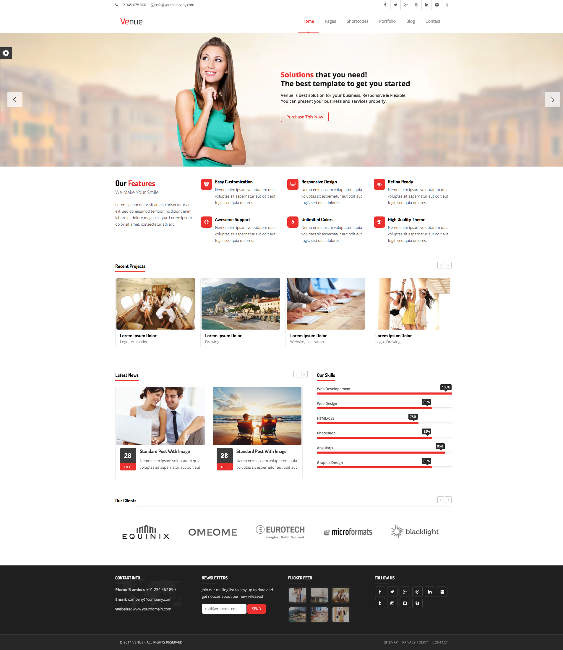Venue - Multipurpose HTML5 Business Template. Built with latest ...