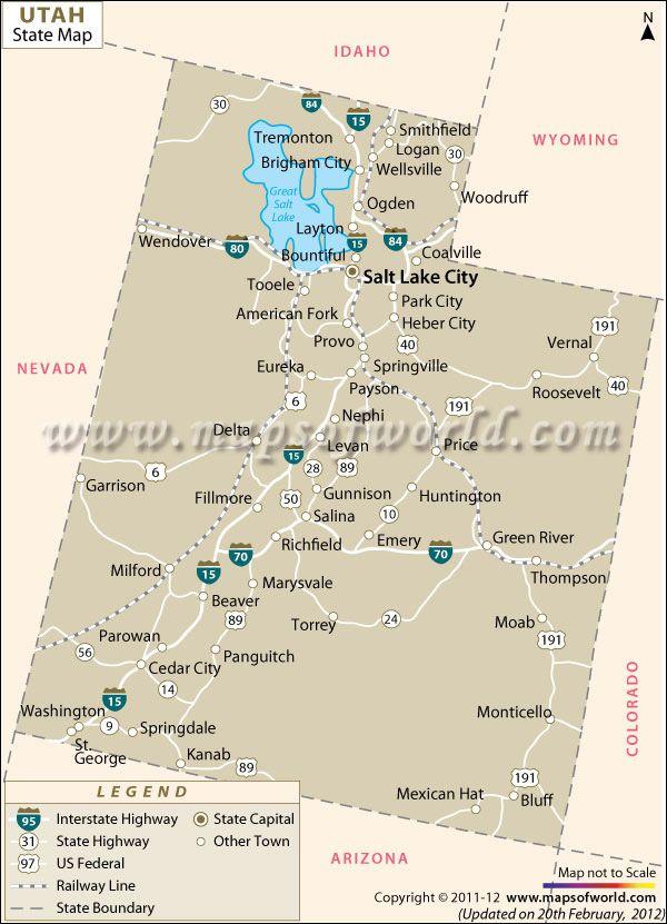 Utah United States Map.Map Of Utah Stuff Pinterest Utah Map Map And Utah