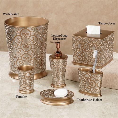Allure Silver And Gold Bath Accessories Black And Gold Bathroom Gold Bathroom Bathroom Decor