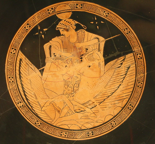 The Tondo Of An Attic Red Figure Kylix By The Brygos Painter Selene In Her Chariot Greek Art Greek Mythology Art Historical Art