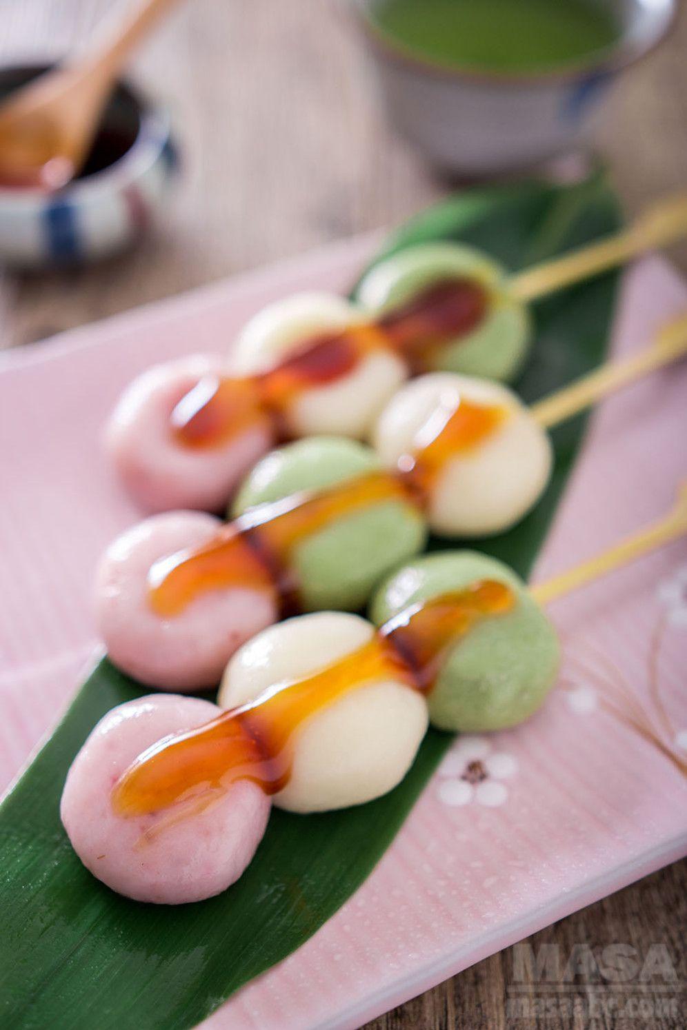 Wagashi recipeTree Color Dango with Mitarashi Sauce