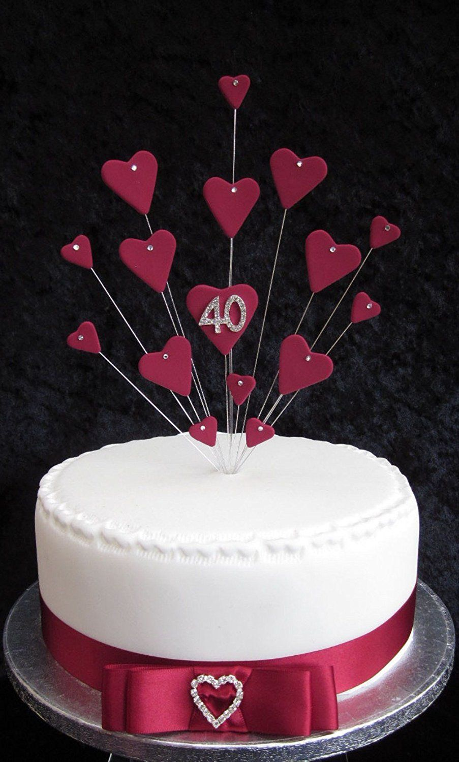 40th Ruby Wedding Anniversary Birthday Cake Topper Suitable For A 20cm