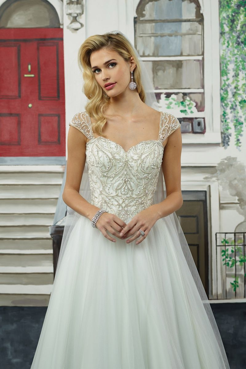 Justin Alexander Art Deco Beaded Bodice with Tulle Skirt Ball Gown ...