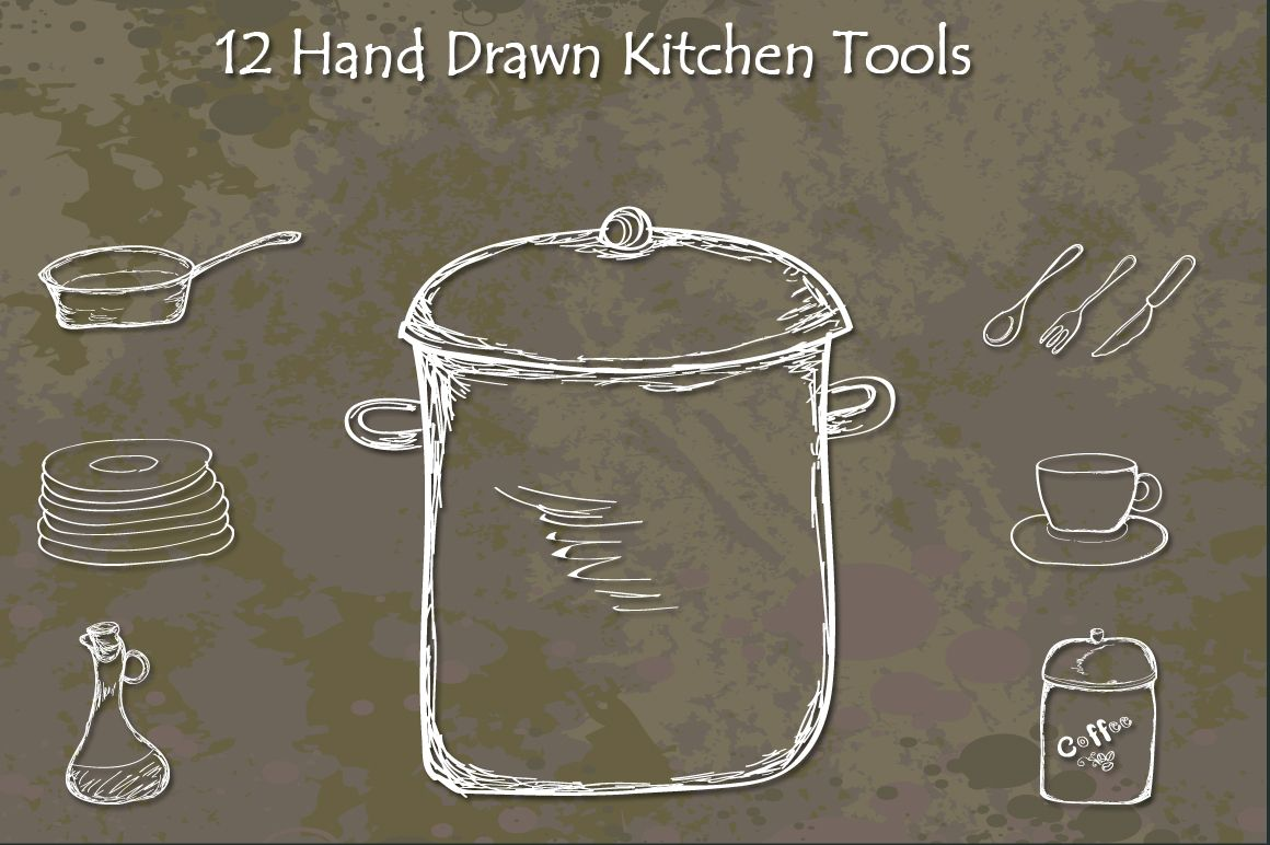 Hand Drawn Kitchen Tools by handdrawngirl on Creative Market