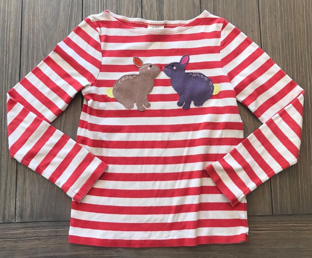 Mini boden red stripy bunny applique extra soft t shirt size 11 12