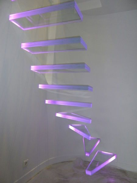 Aero Glass Floating Staircase With Led Light System