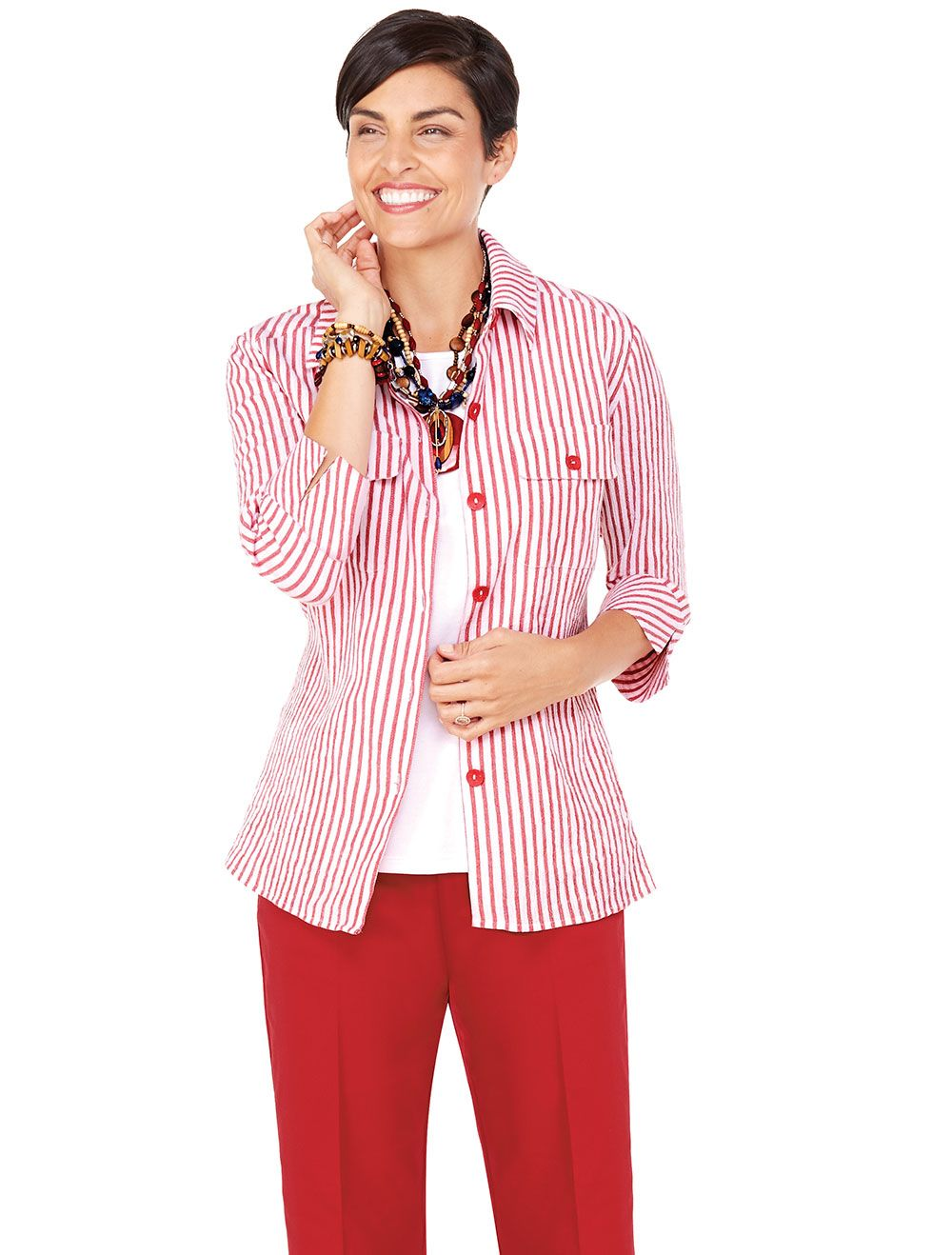 Structured button front shirt in crisp crinkle | Catalina Crinkle Shirt