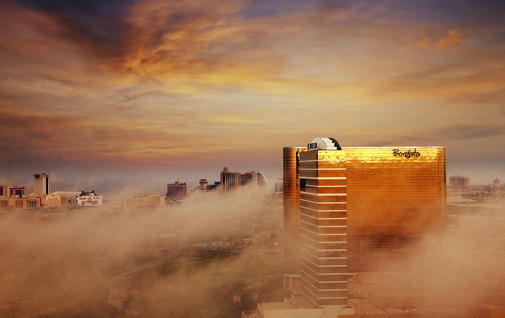 Photo of the Hotel & Casino during a foggy sunrise