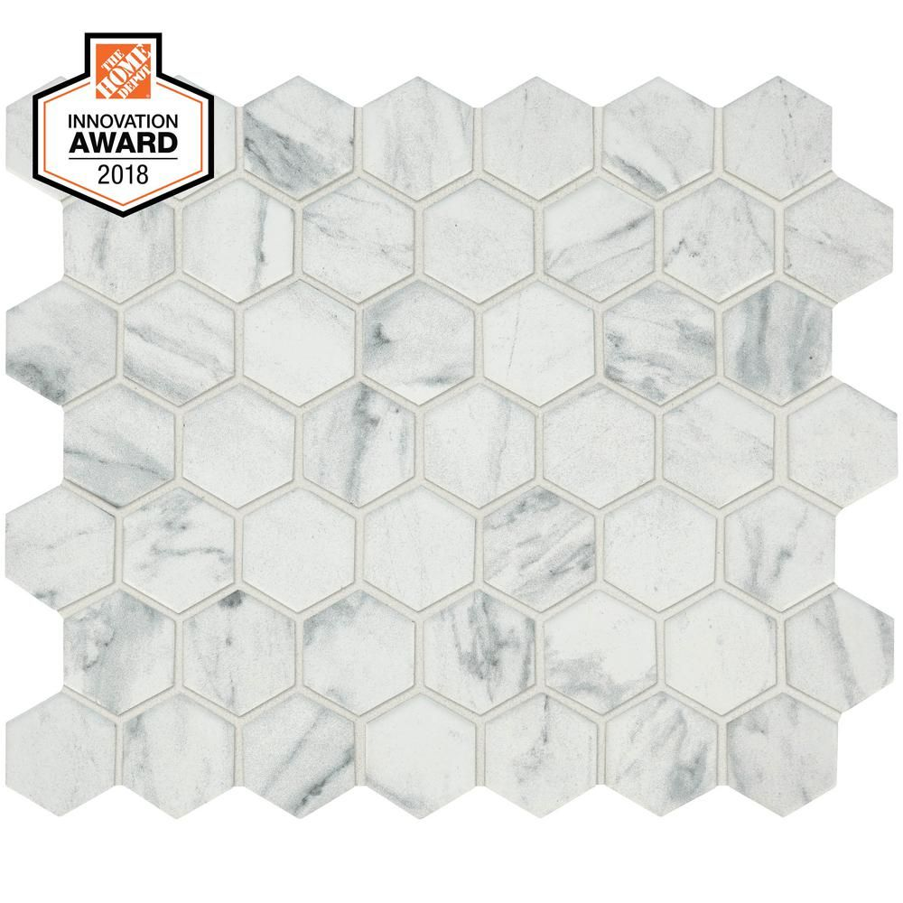 Lifeproof Carrara 10 In X 12 In X 6 35mm Ceramic Mosaic Floor And Wall Tile 0 81 Sq Ft Piece Lp5015hexhd1p2 In 2020 Hexagon Mosaic Tile Hexagonal Mosaic Mosaic Flooring