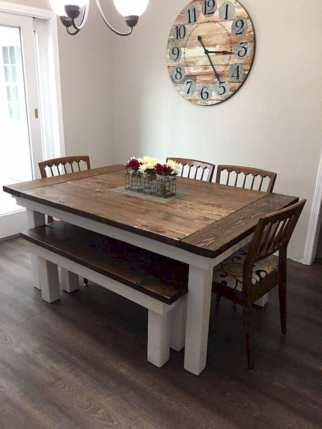 85 Rustic Farmhouse Dining Room Table Ideas is part of  - Hearing the term farmhouse would make us think of a home located on a rural area surrounded by trees and pastures  You would picture a home made of wooden planks and an interior that is kind of shabby with a… Continue Reading →