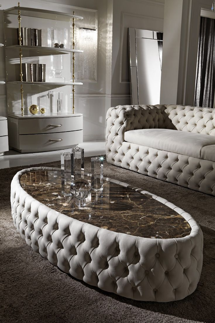 Modern Button Upholstered Nubuck Leather Oval Coffee Table   Design ...