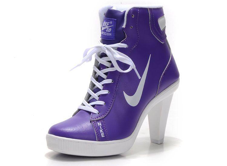Nike Dunk Hi-Top Block Heels For Womens Purple Dunk SB heels with High top