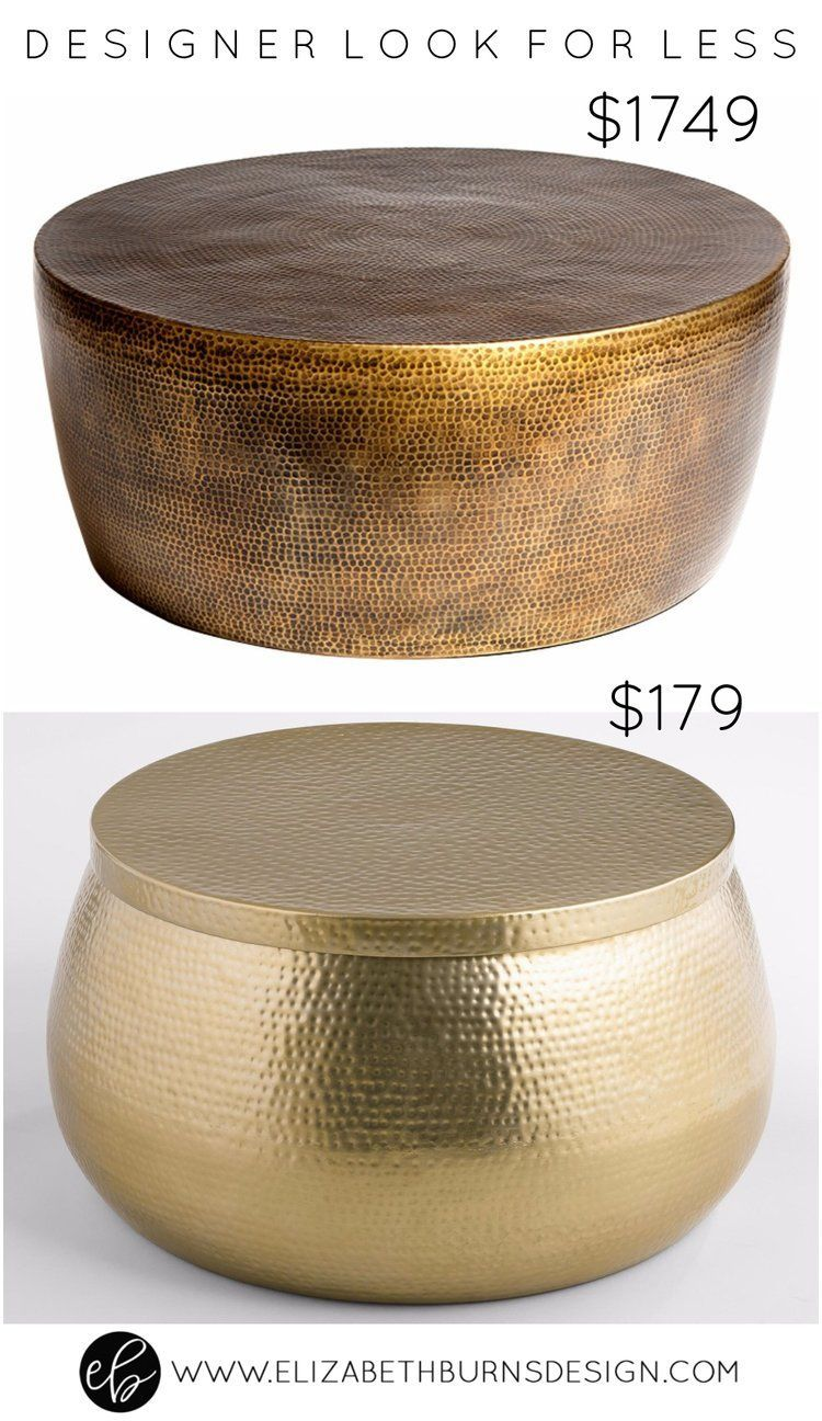 Designer Look For Less Gold Hammered Coffee Table Hammered