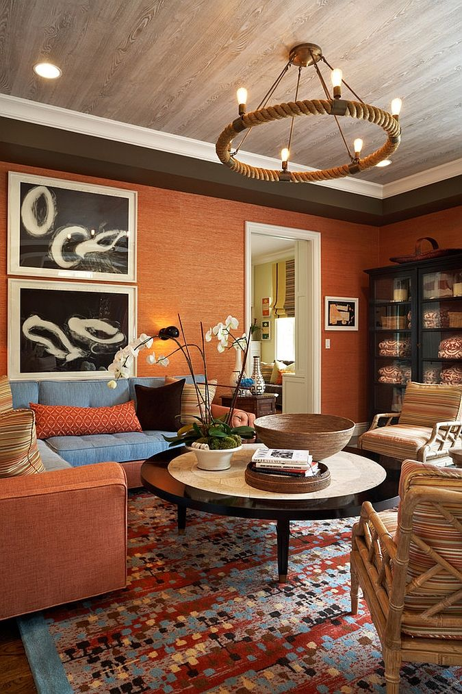 20 Living Rooms with the Textural Beauty of Grasscloth Living rooms