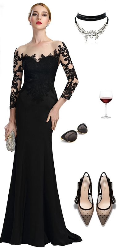 79c23fb5ab54 Black Long Sleeves Lace Evening Gown (02164100) in 2019 | Style ...