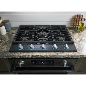 1cb0fd65e Shop Samsung Premium Plus 5-Burner Gas Cooktop (Black Stainless Steel)  (Common  30-in  Actual  30-in) at Lowes.com