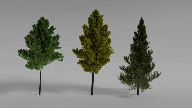 Realistic Trees Scene 3d Model 3ds Obj Blend 3d Model Tree Fantasy Model