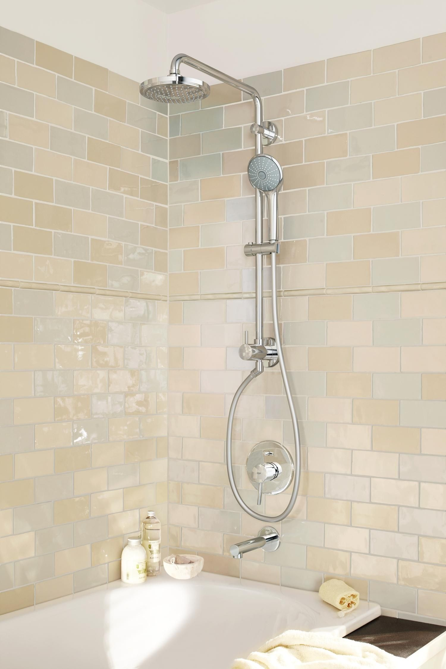 Ideal For Retrofit Or Renovation The Grohe Retro Fit Shower System Installs Easily And Quickly Simply Repl Shower Systems Bathroom Shower Systems Shower Tile
