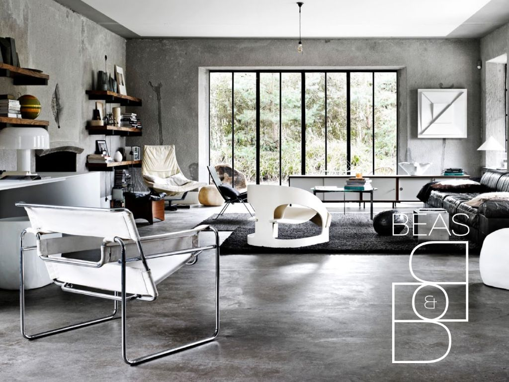 Concrete floor colour and texture industrial home for Industrial flooring for homes