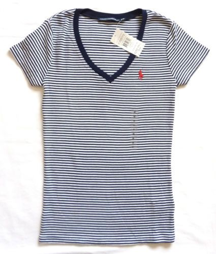 bc81d4de14e777 Like this shirt . POLO-RALPH-LAUREN-WOMENS-NEW-BLUE-WHITE-STRIPED-V-NECK- TSHIRT-TEE-TOP-S-M-L