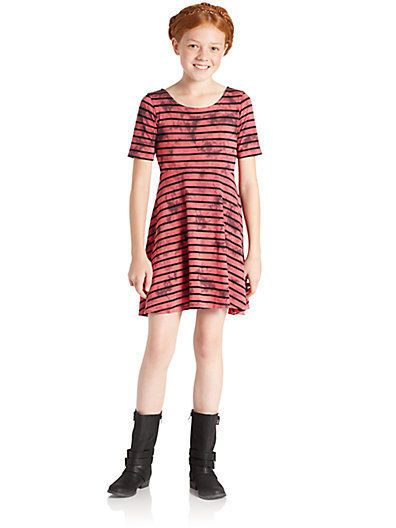 DKNY Girls Striped Red Black Skater Dress One Piece Sz 10 Large NEW SALE  #DKNY #EverydayHoliday