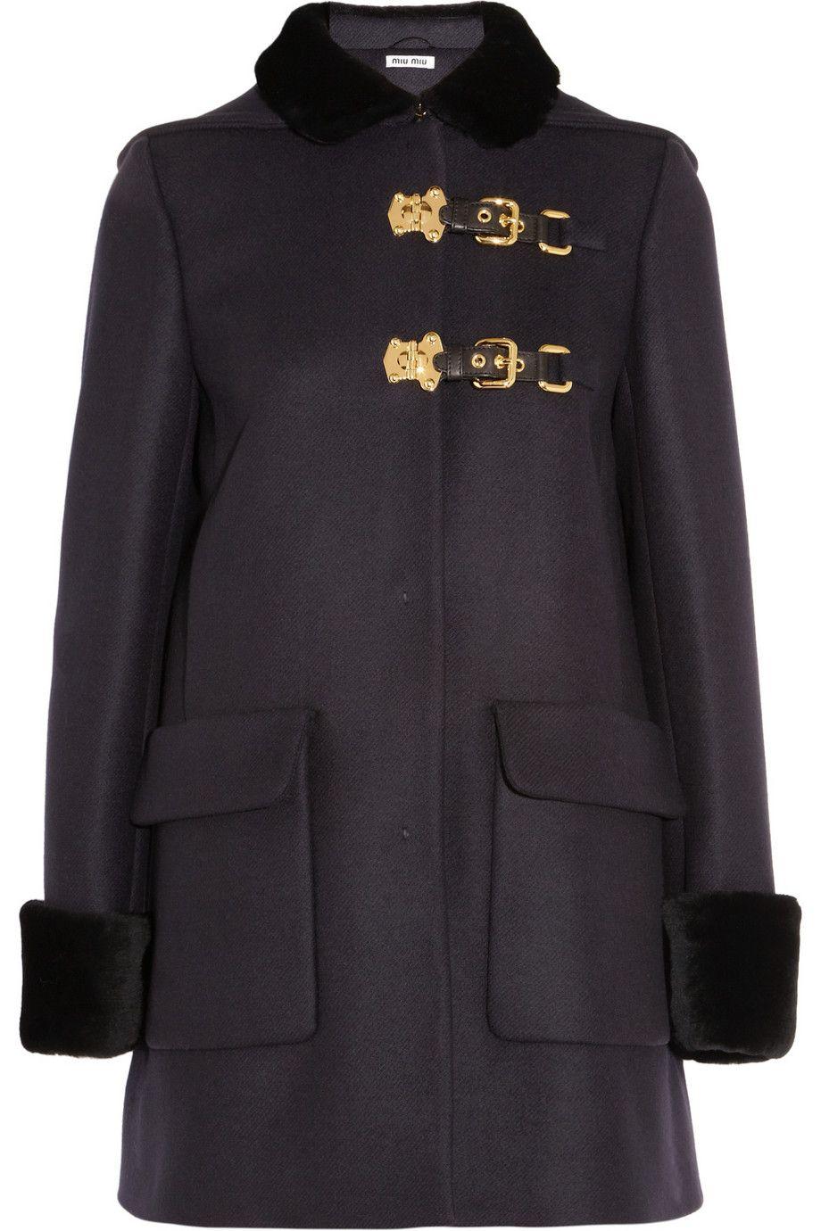 Miu Miu - Shearling-trimmed brushed wool-twill duffle coat
