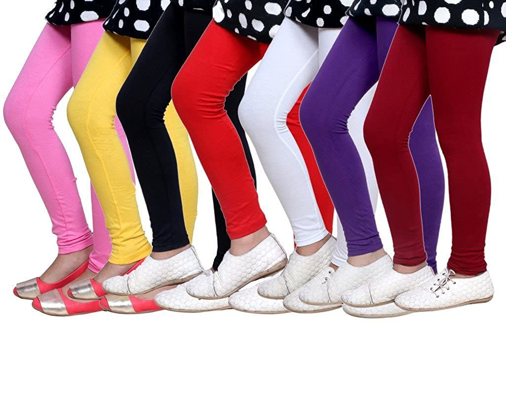 -Multiple Colors-4-5 Years Indistar Little Girls Cotton Full Ankle Length Solid Leggings Pack of 8