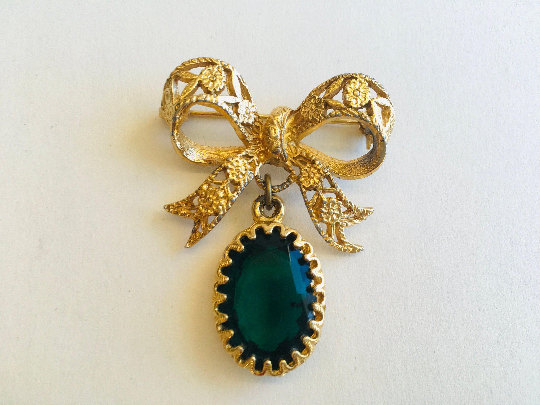 Faux Emerald Green Dangler Brooch 80s
