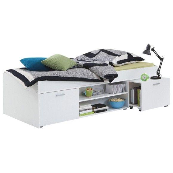 Das Bett In Weiß Ist Perfekt Für Kleine Räume. Durch Die Regale Und Ablagen  Unter