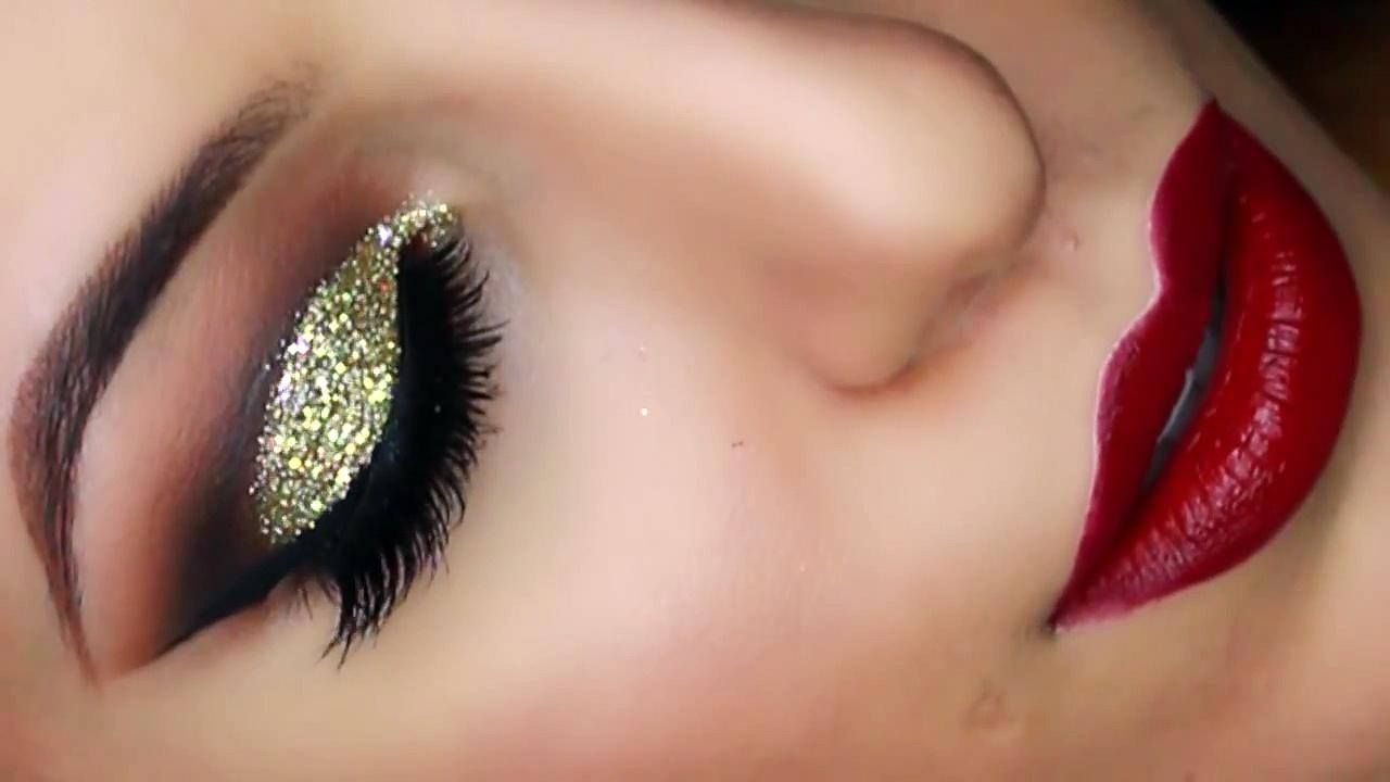 Gold Glitter Cut Crease Smokey Eye - New Years Eve Makeup Tutorial - Video  Dailymotion