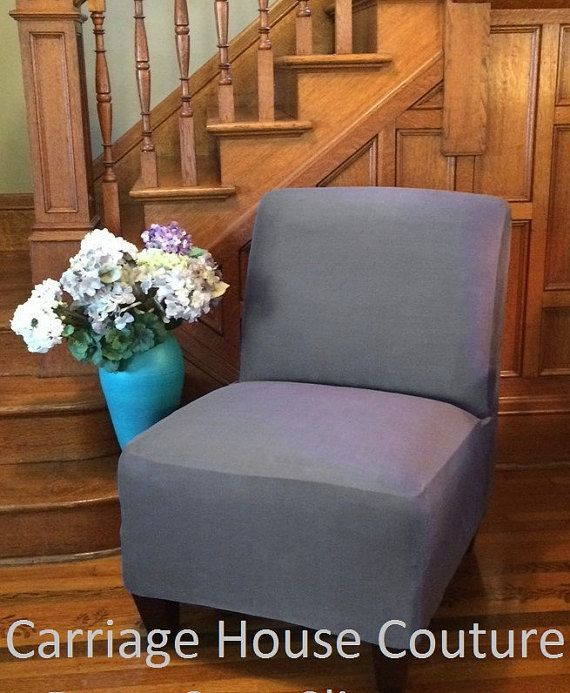 Slipcover Dark Gray Suede Chair Cover for Armless Chair